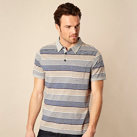 RJR.John Rocha - Navy block striped polo shirt
