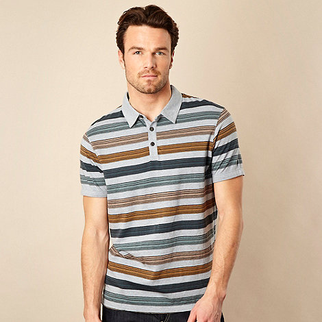 RJR.John Rocha - Pale blue tonal block striped polo shirt