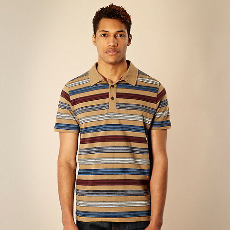 RJR.John Rocha - Designer tan block striped polo shirt