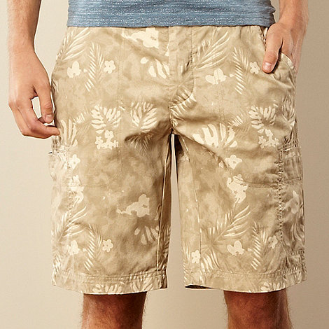 RJR.John Rocha - Big and tall designer natural palm leaf cargo shorts