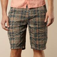 Designer natural over print checked chino shorts