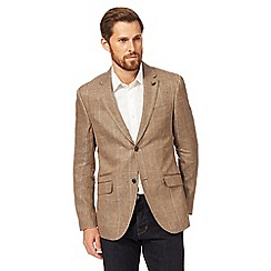 RJR.John Rocha - Big and tall brown linen checked blazer