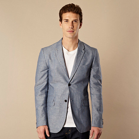 RJR.John Rocha - Designer blue striped chambray blazer jacket