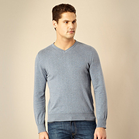 RJR.John Rocha - Designer pale blue pure cotton v-neck jumper
