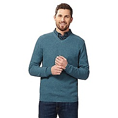 RJR.John Rocha - Big and tall green moss stitch V neck jumper