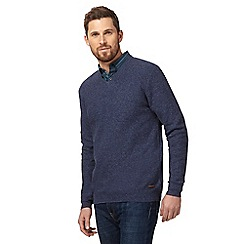 RJR.John Rocha - Big and tall blue moss stitch v neck jumper