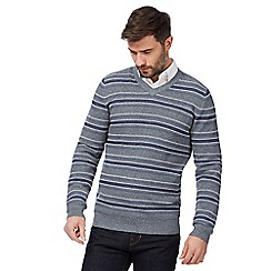 RJR.John Rocha - Big and tall blue textured striped jumper
