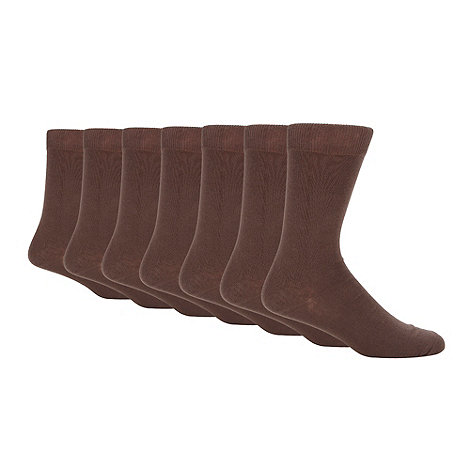 Thomas Nash - Pack of seven brown cotton rich socks