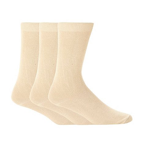 Thomas Nash - Pack of three beige plain socks