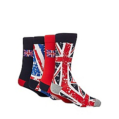 Red Herring - Pack of four red and navy Union Jack flag socks