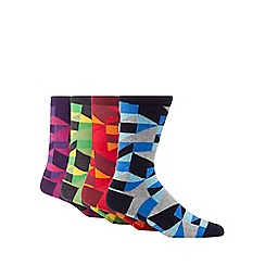 Red Herring - Pack of four multi-coloured geometric socks