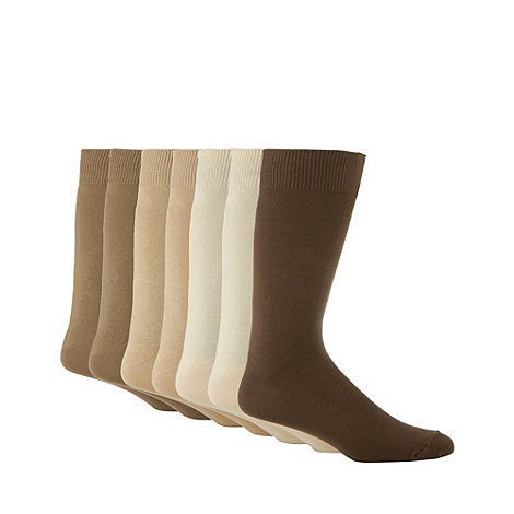 Debenhams Basics - Pack of seven beige cotton socks