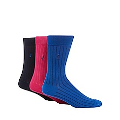 J by Jasper Conran - Pack of three assorted ribbed socks
