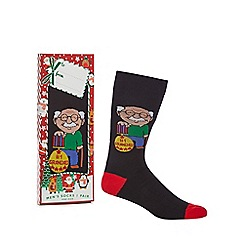 Debenhams Sports - Black 'Number One Grandad' novelty socks in a gift box