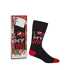 Debenhams Sports - Black 'I Heart My Dad' novelty socks in a gift box