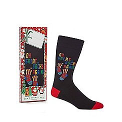 Debenhams Sports - Black 'Oh Great Socks Again' novelty socks in a gift box