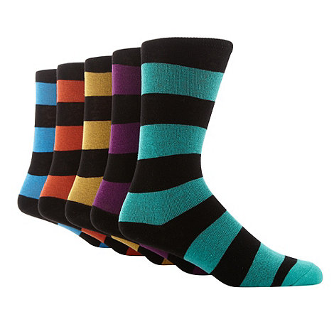 Freshen Up Your Feet - Pack of five black rugby striped socks