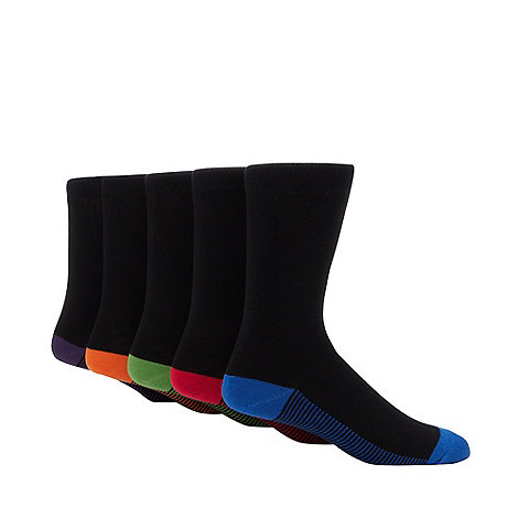 Freshen Up Your Feet - Pack of five black fine striped socks