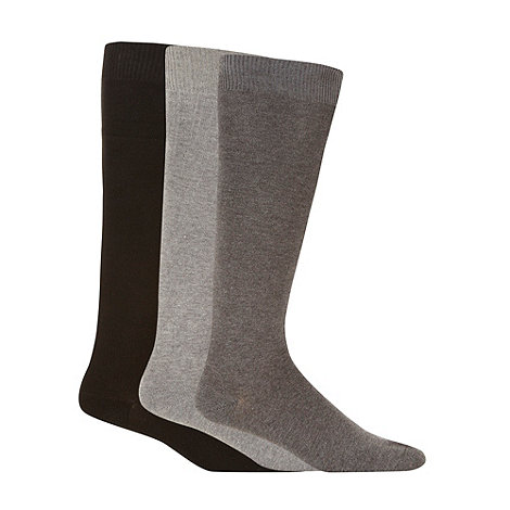 Freshen Up Your Feet - Pack of three grey dark grey and black long socks