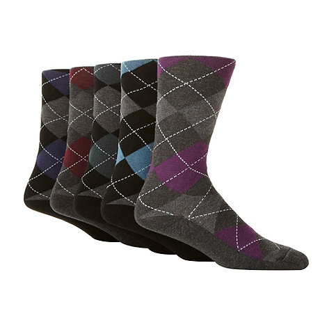 Freshen Up Your Feet - Pack of five grey diamond socks