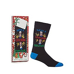 Debenhams Sports - Black 'Have A Cracking Christmas' novelty socks in a gift box