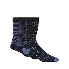 Ben Sherman - Pack of three navy printed socks