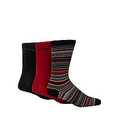 Calvin Klein - Pack of three dark red striped socks