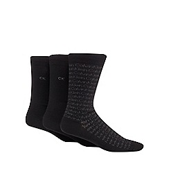 Calvin Klein - Pack of three black logo print socks