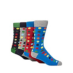 Red Herring - Pack of four multi-coloured spotted socks