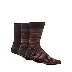 J by Jasper Conran - Pack of three dark brown striped mercerised cotton socks