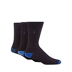 J by Jasper Conran - Pack of three black logo embroidered socks