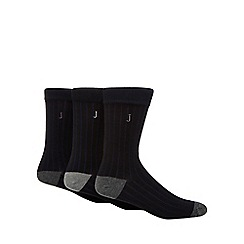 J by Jasper Conran - Pack of three grey ribbed reinforced socks