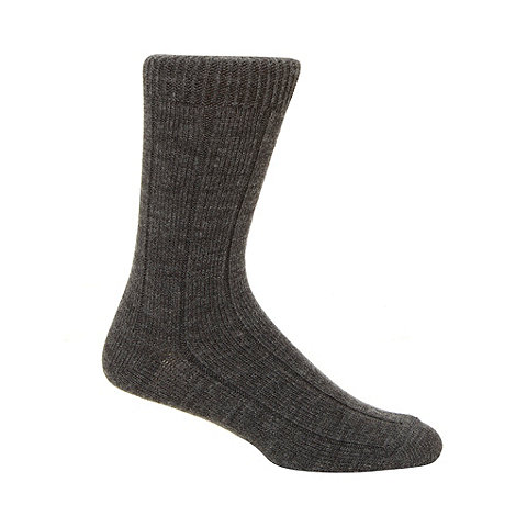 null - Pack of two dark grey ribbed thermal socks