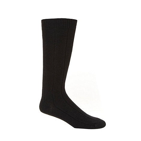 Maine New England - Pack of two black ribbed long thermal socks