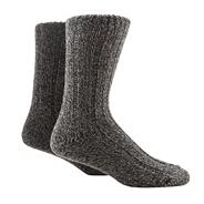 Pack of two grey chunky boot socks