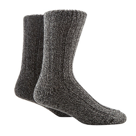 Mantaray - Pack of two grey chunky boot socks