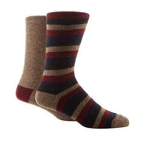 Mantaray - Pack of two brown striped chunky boot socks