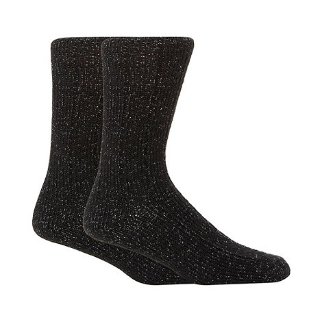 Mantaray - Pack of two black chunky twisted knit boot socks