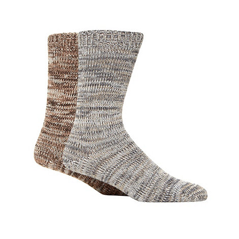 Mantaray - Pack of two natural chunky boot socks