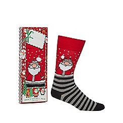 Debenhams Sports - Red Santa print novelty socks in a gift box