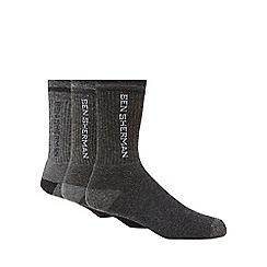 Ben Sherman - Pack of three grey logo print socks
