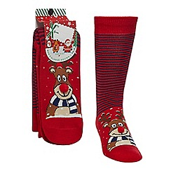 Debenhams Sports - Red reindeer slipper socks