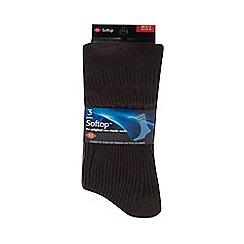 H.J.Hall - Pack of three brown non elastic socks