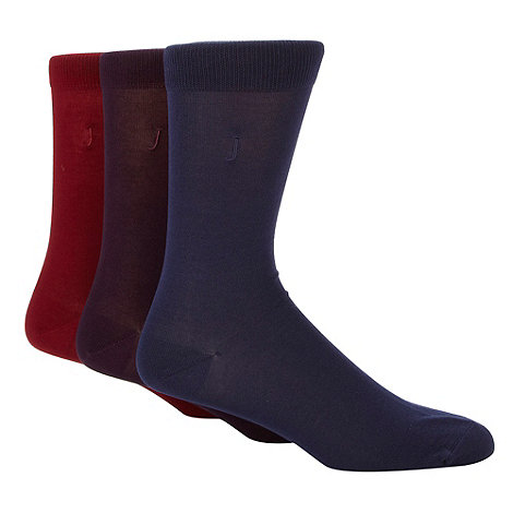 J by Jasper Conran - Designer pack of three purple, red and navy socks