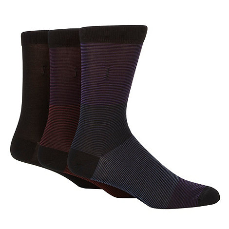 J by Jasper Conran - Designer pack of three black plain and fine striped socks