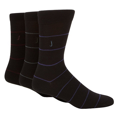 J by Jasper Conran - Designer pack of three black hairline striped socks