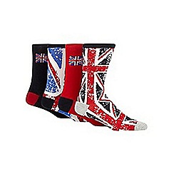 Red Herring - Pack of four red 'Union Jack' socks