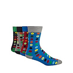 Red Herring - Pack of four black spotted socks