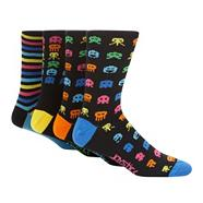 Pack of four black striped and 'Space Invader' socks
