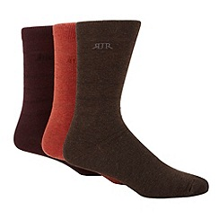 RJR.John Rocha - Designer pack of three orange wine and dark grey striped socks